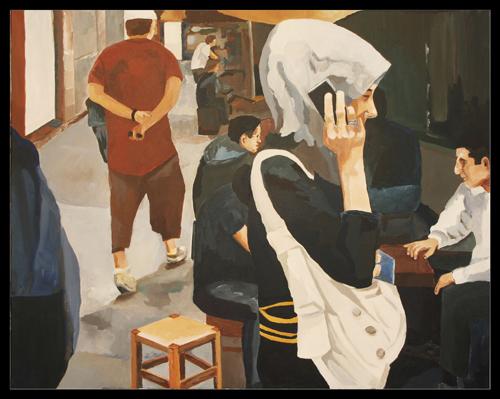 Junge Frau mit Handy, Acryl auf Leinwand, 80x100 cm, (c) 2014 Rainer Bergmann M.A.