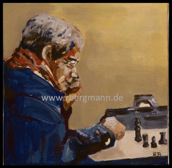 Portrait Schachspieler, Acryl auf Leinwand, 20 x 20 cm, (c) 2015 Rainer Bergmann M.A.