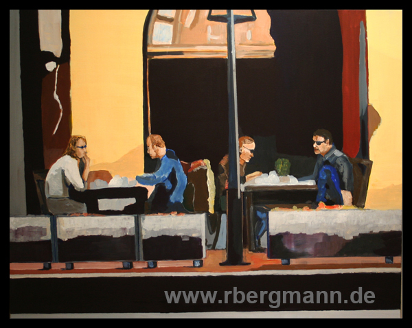 Cafe Krakau, Acryl auf Leinwand, 80 x 100 cm, (c) 2016 Rainer Bergmann