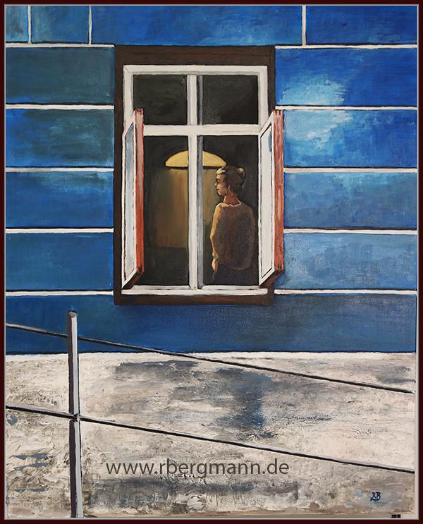 Im Blauen Haus, Acryl und Öl auf Leinwand, 80 x 100 cm, (c) 2020 Rainer Bergmann M.A.