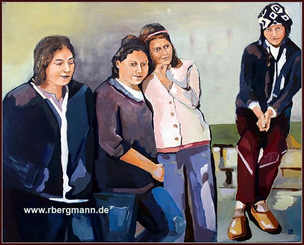 Die Schwestern, Öl auf Leinwand, 80 x 100 cm, (c) 2021 Rainer Bergmann M.A.